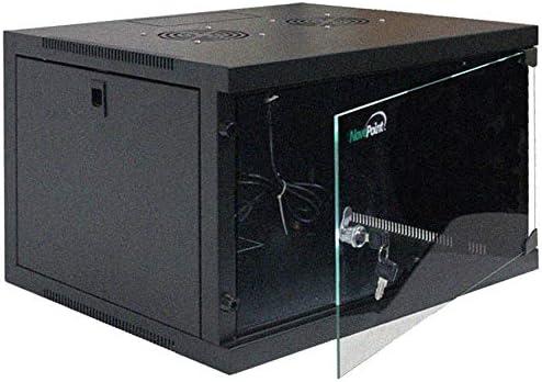 NavePoint 6U Basic IT Wall Mount Network Server Data Cabinet Rack Glass Door Locking Black