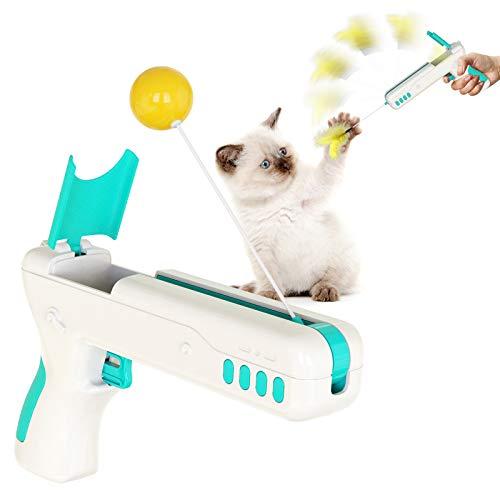 AFMSDRI Juguetes para Gatos, Juguetes interactivos para Gatos, Juguetes Divertidos para Gatos con Plumas y Pelotas, Haz Que los Gatos jueguen, muerdan y se entretengan.