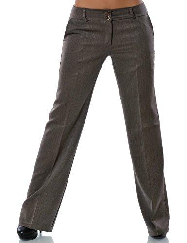 Damen Business Hose Straight Leg Gerades Bein Stoffhose DA 13572 Farbe Khaki Größe 2XL / 44
