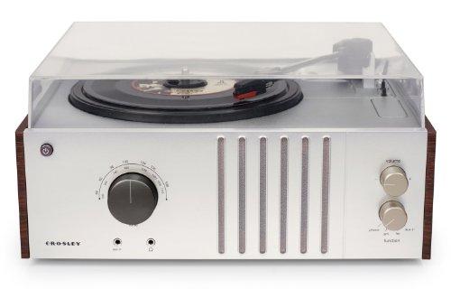 Crosley Player Tragbarer Plattenspieler mit drei Geschwindigkeiten, eingebauten Stereolautsprechern, AM/FM Radio, Kopfhörerbuchse, Aux-Eingang (mit UK-Netzstecker) - Mahogani/Grau