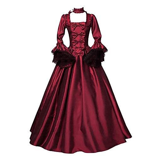 YEBIRAL Damen Langarm Renaissance Mittelalter Kleid Viktorianischen Königin Kostüm Gothic Maxikleid Schnürkleid für Brautjunfer Hochzeit Fasching Karneval