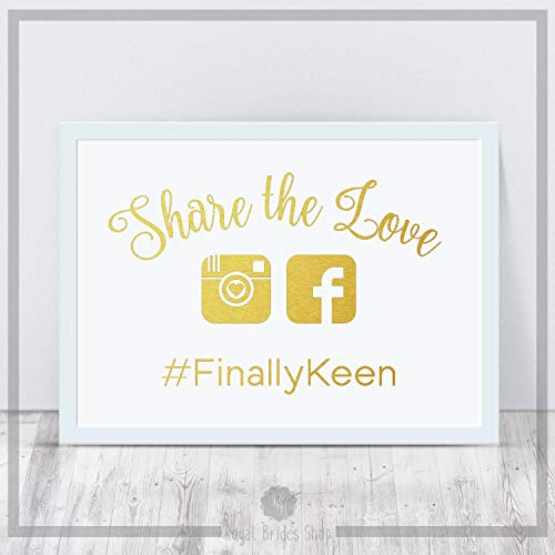 Calcomanía de cartel de boda – Share The Love On Instagram – Marco de fotos de boda para decoración de boda regalo de boda