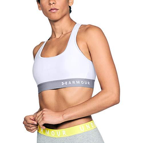 Under Armour Women's HeatGear Armour Mid Impact Crossback Sports Bra , White (100)/White , Medium
