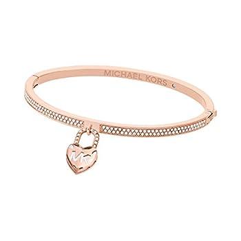 Michael Kors Women s Logo Love Rose Gold-Tone Hinged Bracelet Model MKJ7019791