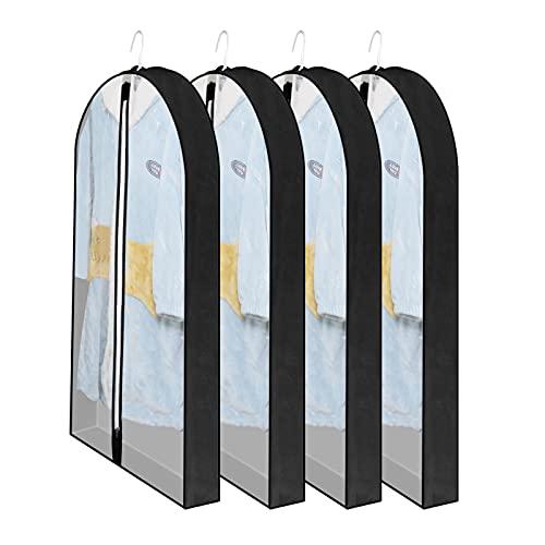 Kleidersack Anzug Lange, 4 Stück Kleidersäcke mit Reißverschluss Staub Schutz Mottensicher, Kleiderschutzhüllen Transparent Schutzhülle für Anzüge Kleider Sakkos Hemden Abendkleider