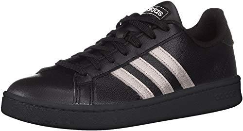 adidas Women's Grand Court Sneaker, Platinum Metallic/Black, 9 M US