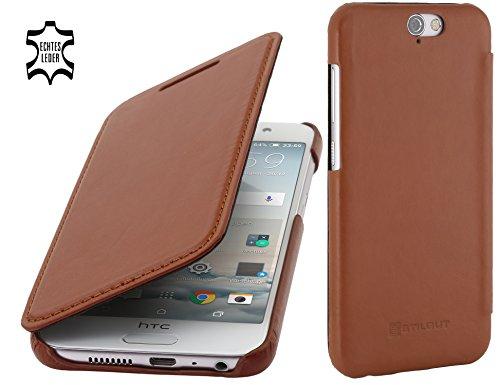 StilGut Book Type Hülle, Hülle Leder-Tasche kompatibel mit HTC One A9, Cognac