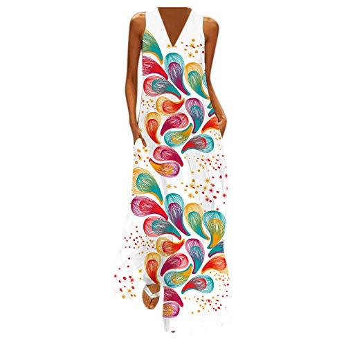 Vestido de Largo Mujer Maxi con Bolsillos Boho Verano sin Manga Estampado de Flores Brillante Bohemia Vestido de Playeros Casual Ropa de Cuello en V
