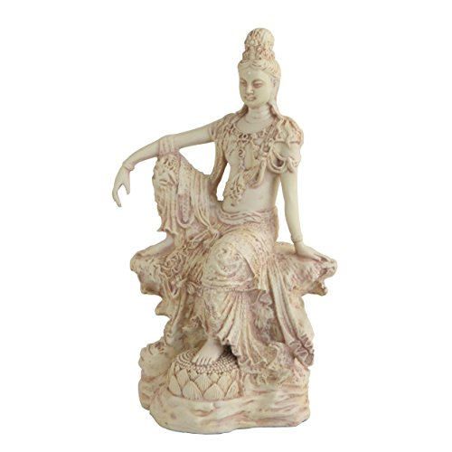 Buddha Groove Quan Yin (Kwan Yin) Statue in a Royal Ease Water and Moon Sitting Pose, 10.5 Inches Tall