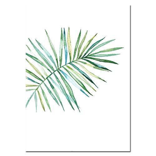 LiMengQi2 Aquarellblätter Leinwand Wandkunst Malerei Green Style Plant Nordic Poster und Drucke Dekoratives Bild Moderne Wohnkultur (kein Rahmen)
