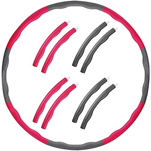 Hula Hoop Reifen Erwachsene Anfänger, Hula Hoops Reifen Erwachsene Kinder Abnehmen Fitnessgerät 6-8-Teiliger Abnehmbarer Hula Hoop Ring für Aerobic-Übungen/Bauchtraining/Trainieren Rückenmuskulatur