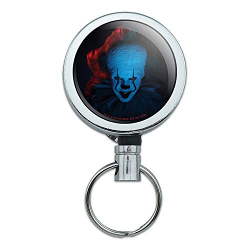 IT: Chapter 2 Blue Pennywise Heavy Duty Metal Retractable Reel ID Badge Key Card Tag Holder with Belt Clip