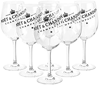 Moët & Chandon Ice Imperial Champagne Glasses Real Glass Clear with Black Lettering Set of 6