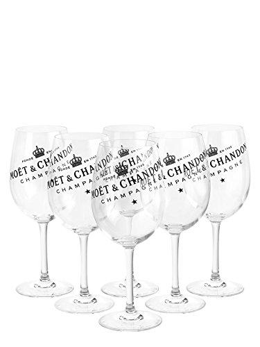 6 x Moët & Chandon champagne glazen set Ice Imperial echt glas helder met zwarte letters (6 stuks)