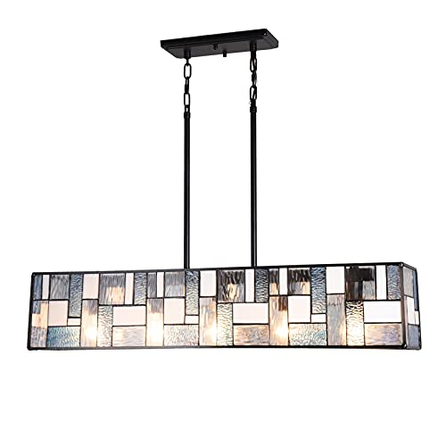 """Cotoss Tiffany Pendant Light Fixtures Pool Table Light Chandelier 34"""" Wide Blue and White Rectangle Stained Glass Hanging Lamp for Dining Room Kitchen Bars"""