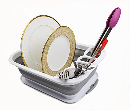 SAMMART Escurreplatos plegable con escurridor – Tendedero plegable – Organizador de vajilla portátil – Estante de cocina que ahorra espacio (1, blanco/gris)