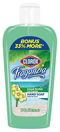 Clorox Fraganzia Liquid Hand Soap Island Orchid, 10 oz (295mL) | Flip Cap Hand Soap with 33% More Soap, Bonus Value Fraganzia Soap