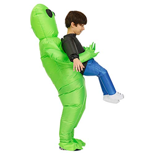 PerGrate 2019 Creative Alien ET Props Inflatable Suit, Green Alien Carrying Human Costume Inflatable Funny Blow Up Suit Cosplay for Party, Kid and Adult