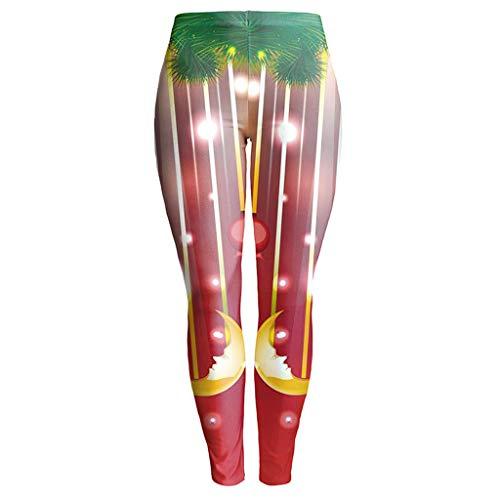 Womens Christmas Galaxy Star Printed High Waist Leggings Pants (Red,Red)
