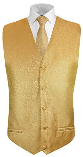 Paul Malone Hochzeitsweste + Krawatte Gold barock - Bräutigam Hochzeit Anzug Weste Gr. 50 S