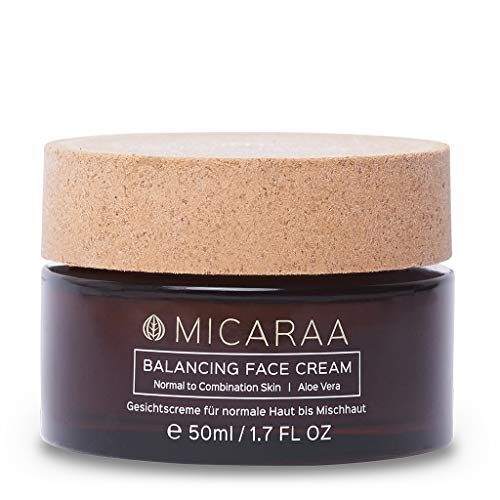 MICARAA Aloe Vera Feuchtigkeits-Creme Für Das Gesicht, Vegane Gesichtscreme Für Normale Bis Mischhaut, Anti-Aging Gesichtspflege Mit Bio-Ölen, Naturkosmetik Deutschland