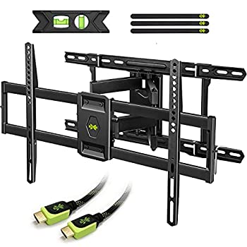 USX MOUNT Full Motion TV Mount for 42 -80  TVS Fits 16  18  or 24  Studs  TV Wall Mount Bracket Tilt Swivel Extension TV Mounts with Dual Articulating Arms Max VESA 600x400mm Weight Capacity 110lbs