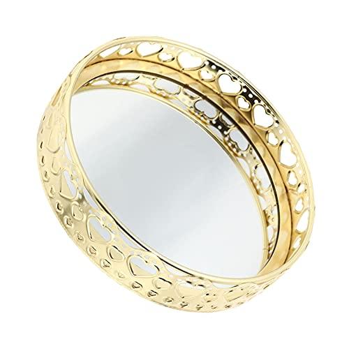 Cabilock Bandeja de Espejo Redonda con Patrón de Corazón Espejo de Cristal Bandeja de Tocador Espejo Dorado Bandeja de Joyería Llavero Decorativo Plato Organizador de Baño Amor Dorado