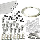 MARCS ARIAS SL Pack Basic RM de 12 Metros Guías de Aluminio (Blanco Mate) con 12 colgadores Nylon para Colgar Cuadros
