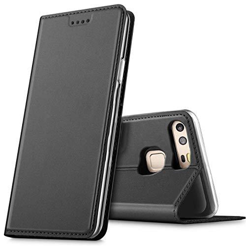 Verco Handyhülle für P9, Premium Handy Flip Cover für Huawei P9 Hülle [integr. Magnet] Book Hülle PU Leder Tasche, Schwarz
