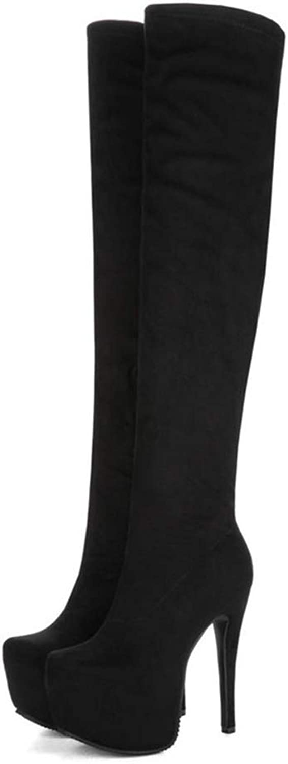 Hoxekle Women Over The Knee Boot Stretch Soft Suede Thin High Heel Thick Platform Zipper Black White Winter Long Boots