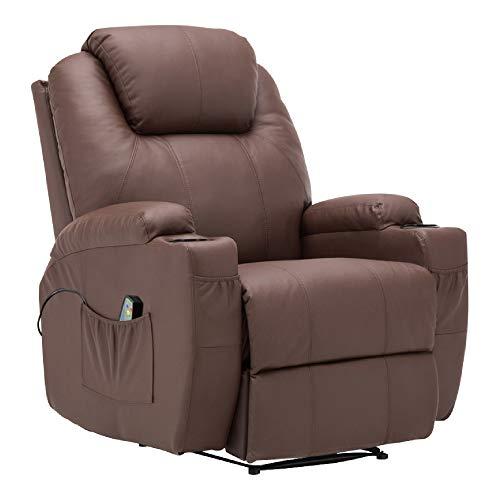 MCombo Massagesessel Fernsehsessel Relaxsessel mit Vibration+Heizung Braun