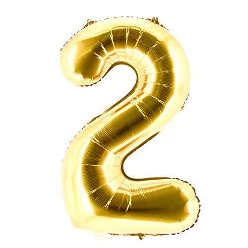 Party Factory XXL Folienballon Zahl 2, Luftballon 100cm, gold, Geburtstag, Abi, Jubiläum, Party Ballon, Heliumballon, Deko