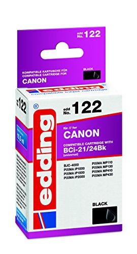 edding 18-122 Druckerpatrone EDD-122, Ersetzt: Canon BCi-21Bk/BCi-24Bk, Einzelpatrone, schwarz