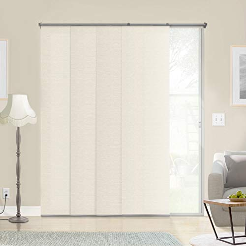 Chicology Adjustable Sliding Panels, Cut to Length Vertical Blinds, Abaca Alabaster (Natural Woven) - Up to 80'W X 96'H