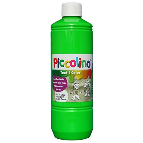 Encre, Peinture textile fluo, Vert 500 ml - Piccolino Peinture fluorescente pour tissus ou soie visible dans le noir