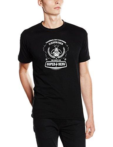 shirtZShop T Shirt di Giorno, Un fleiss iger piastrellista e di Notte Un Super Hero, Unisex, T Shirt Tagsüber Ein Fleißiger Fliesenleger und Nachts Ein Super Hero, Nero, XXXL