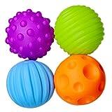 Daorier 4× Balles Sensorielles Jeux de Balles pour Bébé Enfant Doux au Toucher Plastique Sécurité ABA (BPA sans) 7cm