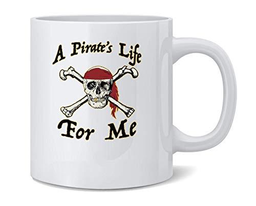 N\A A Pirates Life for Me Disfraz de Halloween Calavera Taza de caf de cermica Taza de t Regalo Divertido y novedoso 11 oz