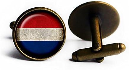 Holland Netherlands Flag Antique Bronze Cufflinks