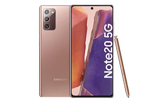 Samsung Galaxy Note 20 5G Android Smartphone ohne Vertrag Triple Kamera Infinity-O Bildschirm 256 GB Speicher starker Akku Handy in bronze inkl. 36 Monate Herstellergarantie [Exklusiv bei Amazon]