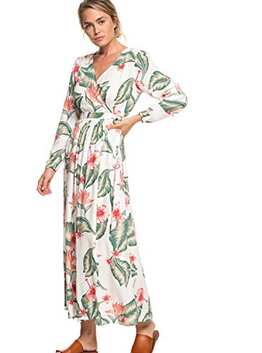 Roxy Taste of Tomorrow Robe Portefeuille Manches Longues Femme, Marshmallow Tropical Love, FR : S (Taille Fabricant : Small)