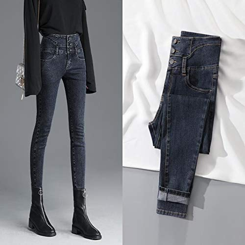 Hoge taille Stretch Jeans Vrouwelijke Voeten New Slim Self-teelt was dun Spring zwarte kleren was dun hoge taille Broeken,A,25
