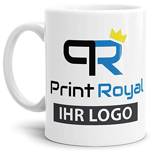 Werbeartikel - Firmen-Tasse mit eigenem Logo Bedruckt/Merchandise / B2B / Geschäftskunden/selbst individuell gestalten/Weiss - 12 Stück