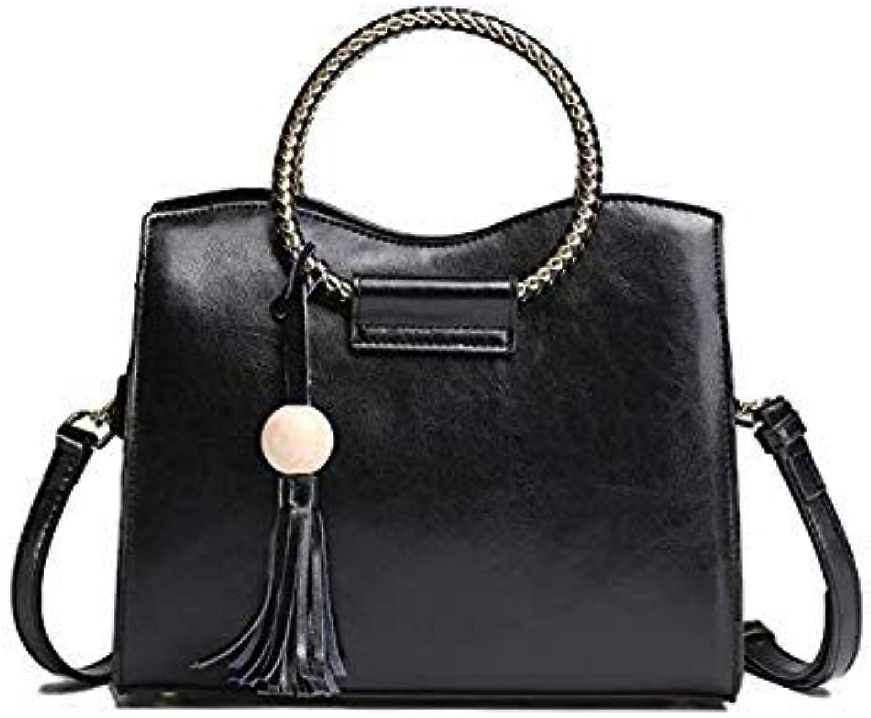 Bloomerang AMALTHEA Brand Fashion Handbags Tassel Bags Handbags Women Famous Brands Circle Handle Handbag Tote Women Messenger Bag AMAS025 color Black Circle Handbag