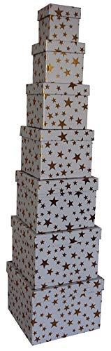 0 41749 Weihnachtsgeschenkkarton Sterne gold - 7 tlg, Würfel