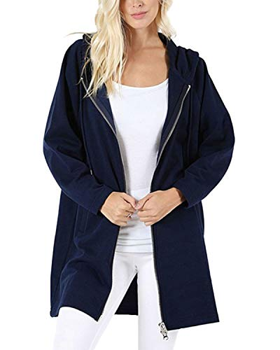 Kidsform Sweatjacke Damen Lang mit Kapuze Winter Zip Hoodie Damen Long Oversize Marine XL