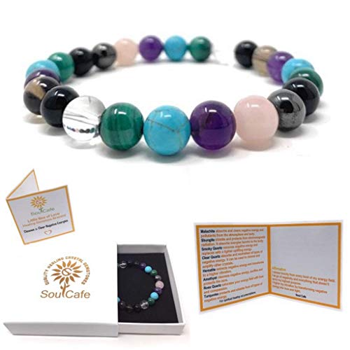 Cleanse and Clear Negative Energies Healing Crystal Power Bead Bracelet - Gift Box & Tag - Malachite, Shungite, Turquoise, Amethyst, Smoky Quartz, Rose Quartz, Hematite, Clear Quartz