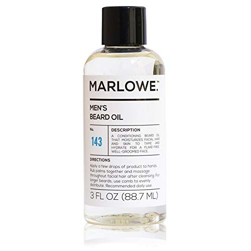 MARLOWE. Beard Oil Conditioner for Men No. 143   Softer & Fuller Beard Care   Large 3oz Size   100% Natural   Unscented Softener   Condition and Nourish Beard Health