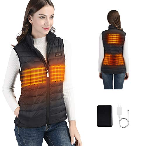 2020 New Heated Vest for Women with USB Battery Pack, Lightweight Women's Heated Waistcoat for Fishing, Skiing, Riding - Large