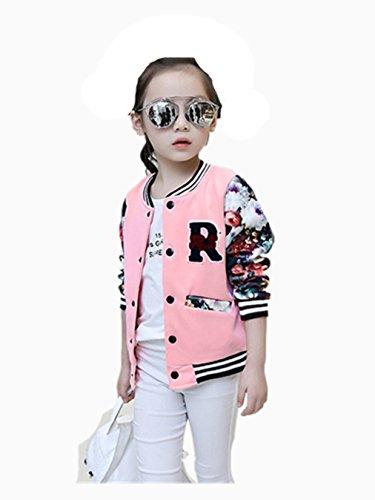 Vovotrade Fahion Mädchen Kinder Baseball Jacke Langarm Mantel Kleidung Outwear für 5 bis 16 Jahre alt Mädchen (Größe: 5-6 Jahre Alt)